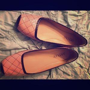 Anyi lu pink and black patent ballet flats